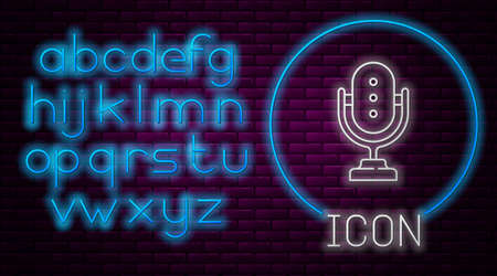 Glowing neon line Microphone icon isolated on brick wall background. On air radio mic microphone. Speaker sign. Neon light alphabet. Vector Çizim