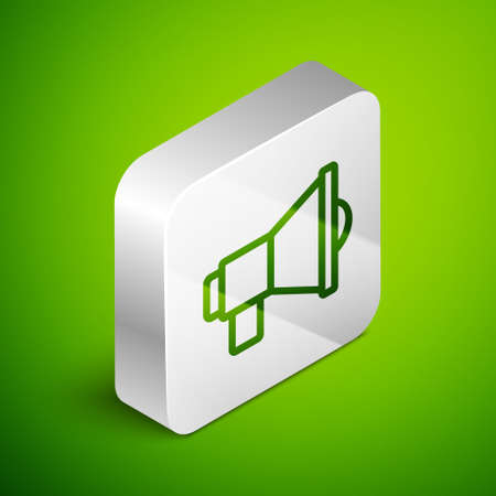Isometric line Megaphone icon isolated on green background. Speaker sign. Silver square button. Vector Çizim
