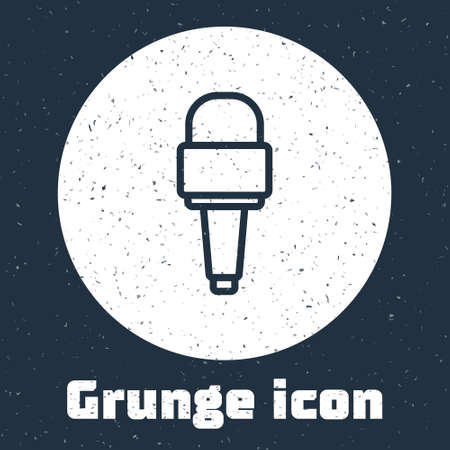Grunge line Microphone icon isolated on grey background. On air radio mic microphone. Speaker sign. Monochrome vintage drawing. Vector Çizim