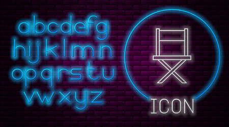 Glowing neon line Director movie chair icon isolated on brick wall background. Film industry. Neon light alphabet. Vector Stock Illustratie