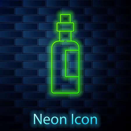 Glowing neon line Bottle of olive oil icon isolated on brick wall background. Jug with olive oil icon. Vector