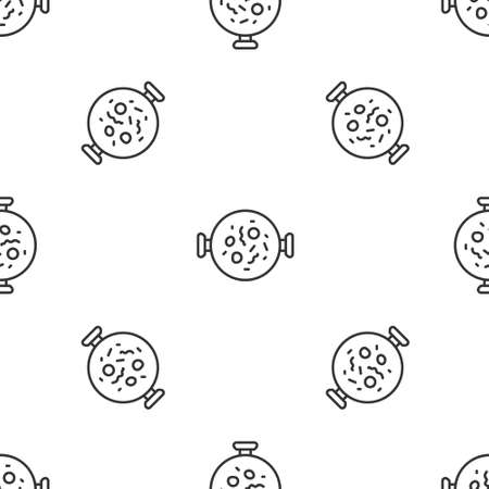 Grey line Chicken tikka masala icon isolated seamless pattern on white background. Indian traditional food. Vector