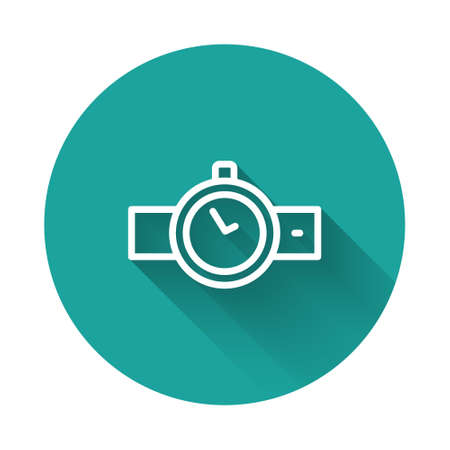 White line Wrist watch icon isolated with long shadow. Wristwatch icon. Green circle button. Vector Çizim