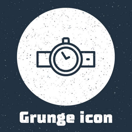Grunge line Wrist watch icon isolated on grey background. Wristwatch icon. Monochrome vintage drawing. Vector Çizim