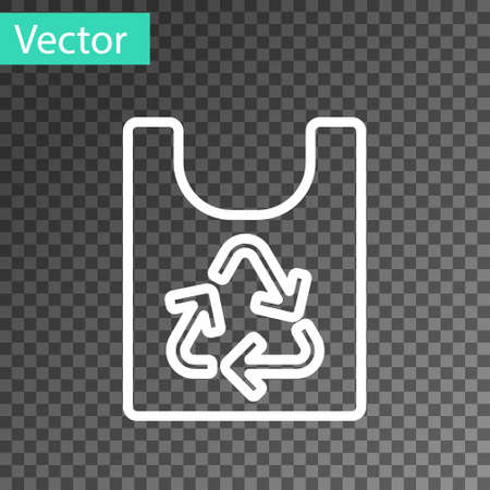 White line Plastic bag with recycle icon isolated on transparent background. Bag with recycling symbol. Vector Ilustração