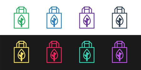 Set line Paper shopping bag with recycle icon isolated on black and white background. Bag with recycling symbol. Vector Ilustração