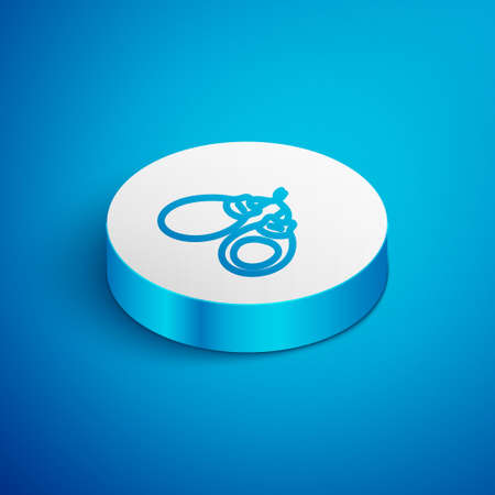 Isometric line Musical instrument castanets icon isolated on blue background. White circle button. Vector