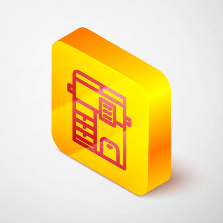 Isometric line Office multifunction printer copy machine icon isolated on grey background. Yellow square button. Vector