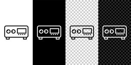 Set line Guitar amplifier icon isolated on black and white background. Musical instrument. Vector