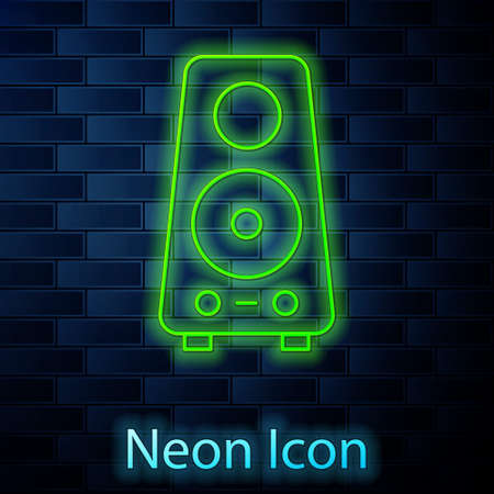 Glowing neon line Stereo speaker icon isolated on brick wall background. Sound system speakers. Music icon. Musical column speaker bass equipment. Vector