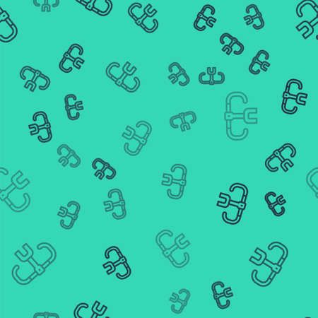 Black line Bicycle handlebar icon isolated seamless pattern on green background. Vector