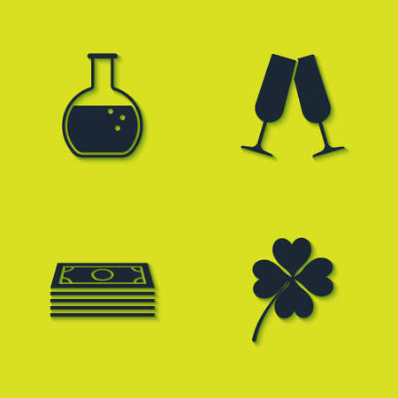 Set Test tube and flask, Four leaf clover, Stacks paper money cash and Glasses of champagne icon. Vector Stock Illustratie