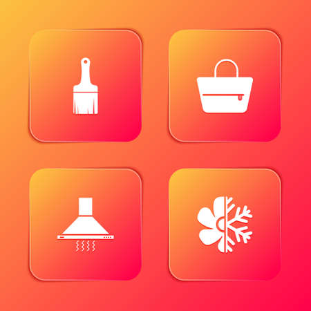 Set Paint brush, Handbag, Kitchen extractor fan and Air conditioner icon. Vector