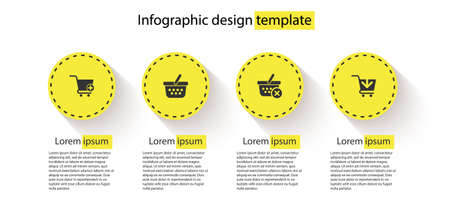 Set Add to Shopping cart, basket, Remove shopping and . Business infographic template. Vector 矢量图像