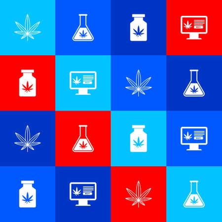 Set Marijuana or cannabis leaf, Test tube with marijuana, Medical bottle and Online buying icon. Vector