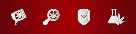 Set Marijuana or cannabis seeds, Magnifying glass and marijuana, Shield and Test tube with icon. Vector Stock Illustratie