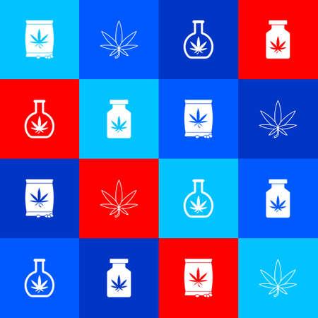 Set Marijuana or cannabis seeds, leaf, Test tube with marijuana and Medical bottle icon. Vector