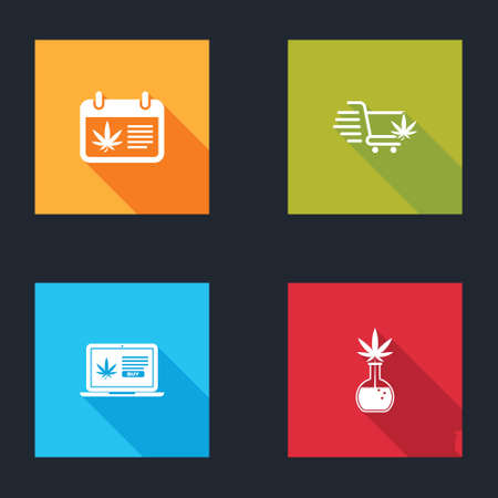 Set Calendar and marijuana, Shopping cart with, Online buying and Test tube icon. Vector