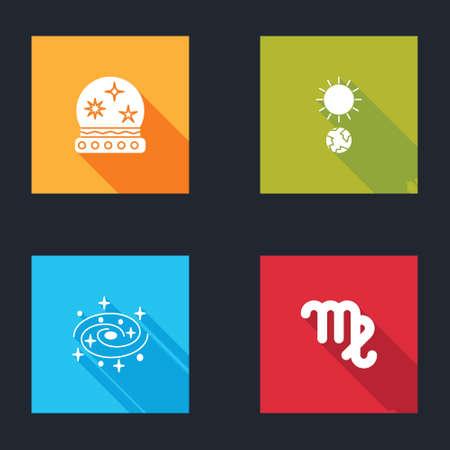 Set Magic ball, Solstice, Milky way spiral galaxy and Virgo zodiac icon. Vector Vettoriali