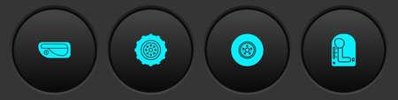 Set Car door handle, wheel, brake disk and Gear shifter icon. Vector Ilustração