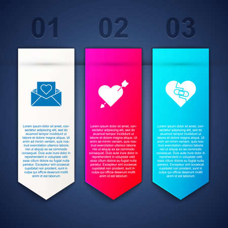 Set Envelope with Valentine heart, Amour and arrow and Healed broken. Business infographic template. Vector Illusztráció