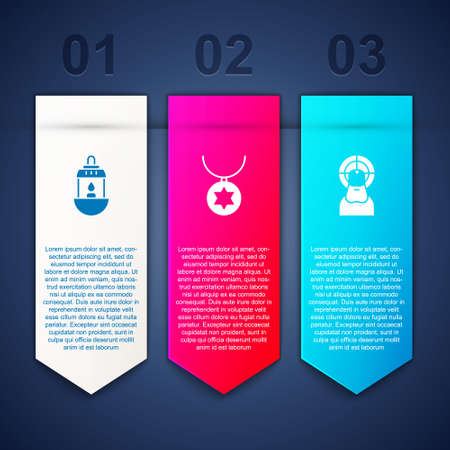 Set Ramadan Kareem lantern, Star of David necklace on chain and Jesus Christ. Business infographic template. Vector