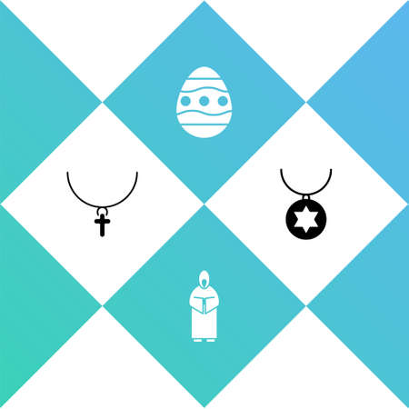 Set Christian cross on chain, Monk, Easter egg and Star of David necklace icon. Vector Stock Illustratie