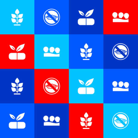 Set Plant, Food no diet, Medical pill with plant and Vacuum cans icon. Vector Иллюстрация