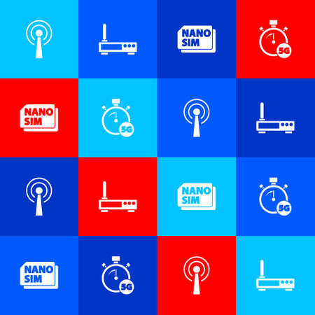 Set Antenna, Router and wi  fi signal, Nano Sim Card and Digital speed meter 5G icon. Vector Stock Illustratie
