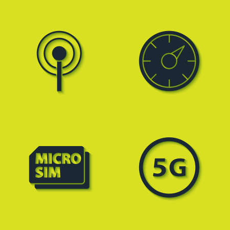 Set Antenna, 5G network, Micro Sim Card and Digital speed meter icon. Vector
