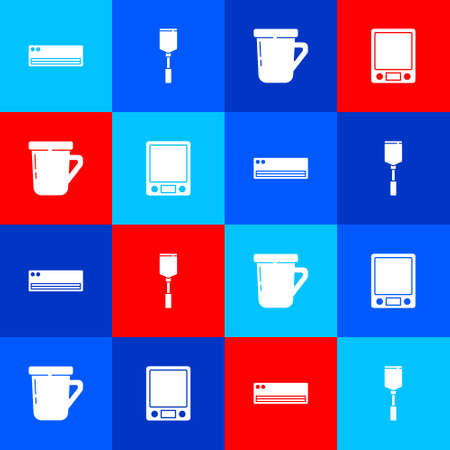 Set Air conditioner, Spatula, Coffee cup and Electronic scales icon. Vector