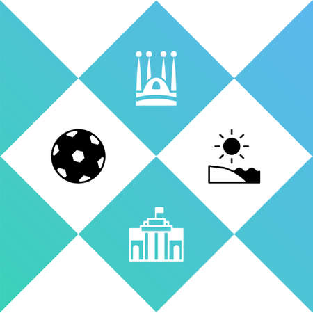 Set Football ball, Prado museum,   Familia and Beach icon. Vector