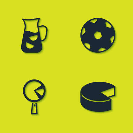 Set Sangria, Cheese, Omelette in frying pan and Football ball icon. Vector
