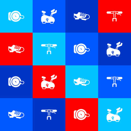 Set Bicycle bell, Stationary bicycle, shoes and handlebar icon. Vector