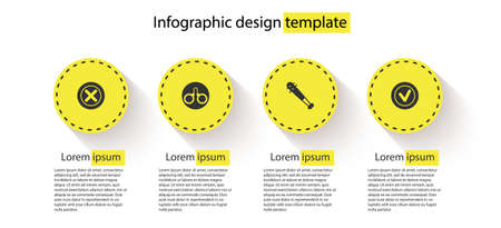 Set X Mark, Cross in circle, Handcuffs, Baseball bat with nails and Check mark round. Business infographic template. Vector