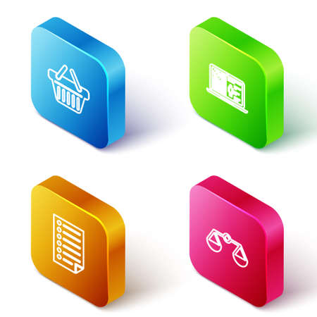 Set Isometric line Shopping basket, Medical clinical record, Document and Scales of justice icon. Vector