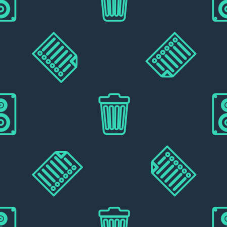 Set line Trash can, Document and Stereo speaker on seamless pattern. Vector