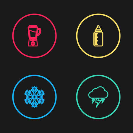 Set line Snowflake, Storm, Baby bottle and Blender icon. Vector 向量圖像