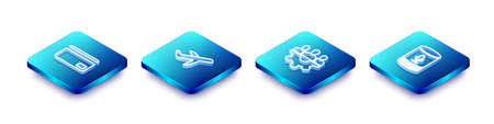 Set Isometric line Credit card, Plane, Project team base and Voice assistant icon. Vector