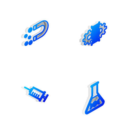 Set Isometric line Gene editing, Magnet with money, Syringe and DNA research, search icon. Vector