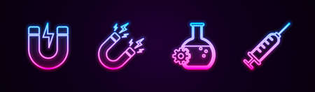 Set line Magnet with lightning, , Bioengineering and Syringe. Glowing neon icon. Vector
