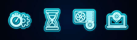 Set line Time management setting, Old hourglass with sand, Air conditioner and Laptop. Glowing neon icon. Vector