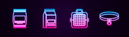 Set line Bag of food, , Pet carry case and Cat collar. Glowing neon icon. Vector