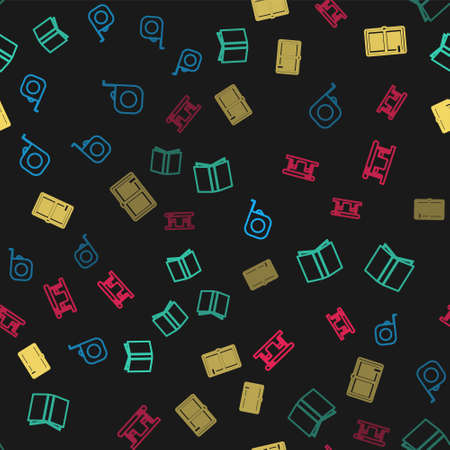 Set line Roulette construction, Open book, and Gas filling station on seamless pattern. Vector 矢量图像
