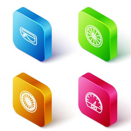 Set Isometric line Car door handle, wheel, and Speedometer icon. Vector Ilustração