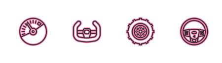 Set line Speedometer, Car wheel, Sport steering and Steering icon. Vector Ilustração