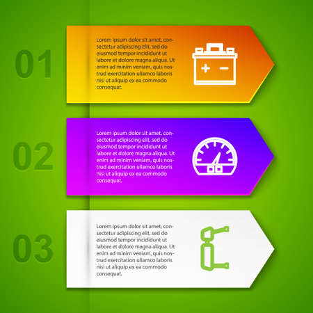 Set line Car battery, Speedometer, Truck side mirror and wheel. Business infographic template. Vector
