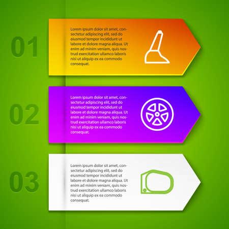 Set line Car handbrake, wheel, mirror and Windscreen wiper. Business infographic template. Vector Ilustração