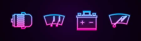Set line Electric engine, Windscreen wiper, Car battery and . Glowing neon icon. Vector Stock Illustratie