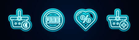 Set line Shopping basket and euro, Price tag with Free, Discount percent heart and Add to. Glowing neon icon. Vector 矢量图像